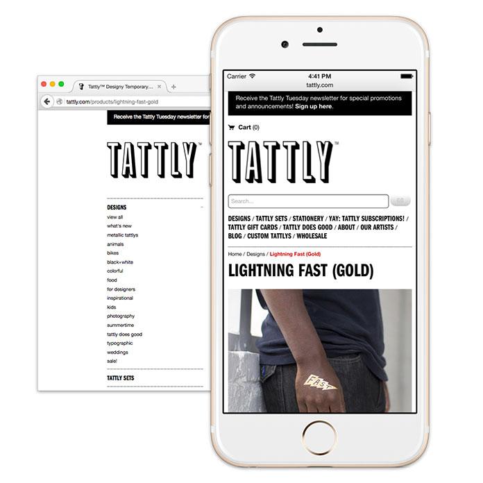 Screenshot of Tattly's navigation, hiding submenus on smaller screens.