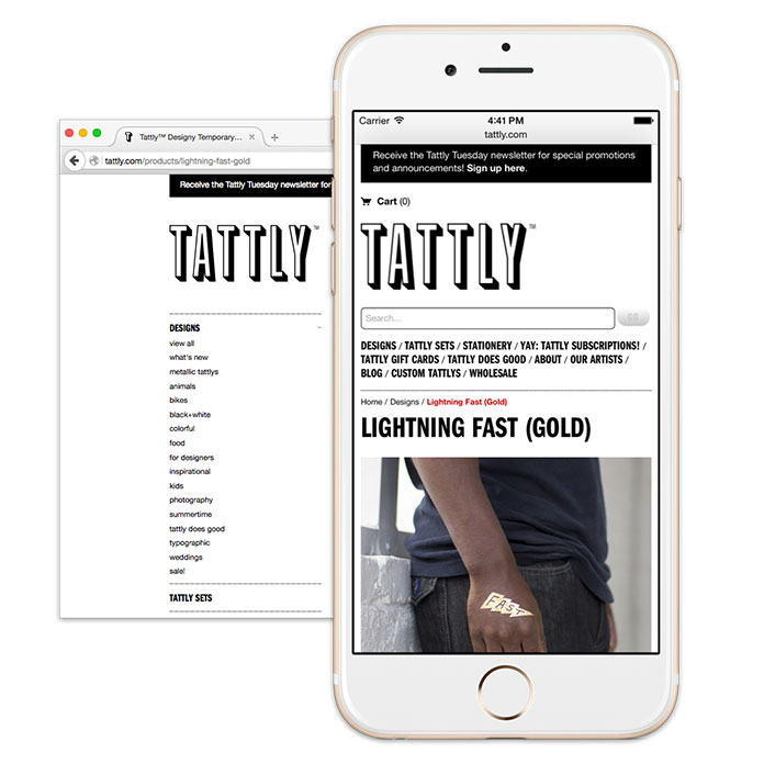 Screenshot of Tattly's navigation, hiding submenus on smaller screens.