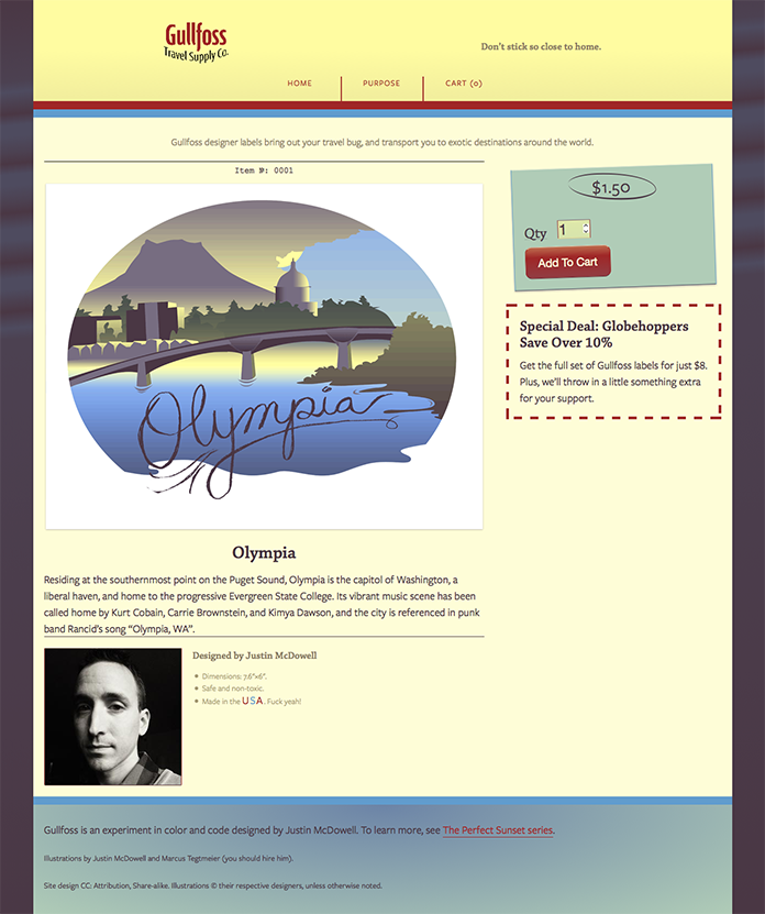 The Olympia page of the Gullfoss Travel Supply Co.  site.