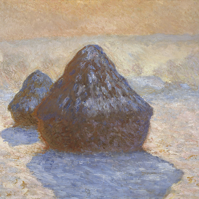 Claude Monet, Haystacks: Snow Effect (1891). Scottish National Gallery; public domain image.