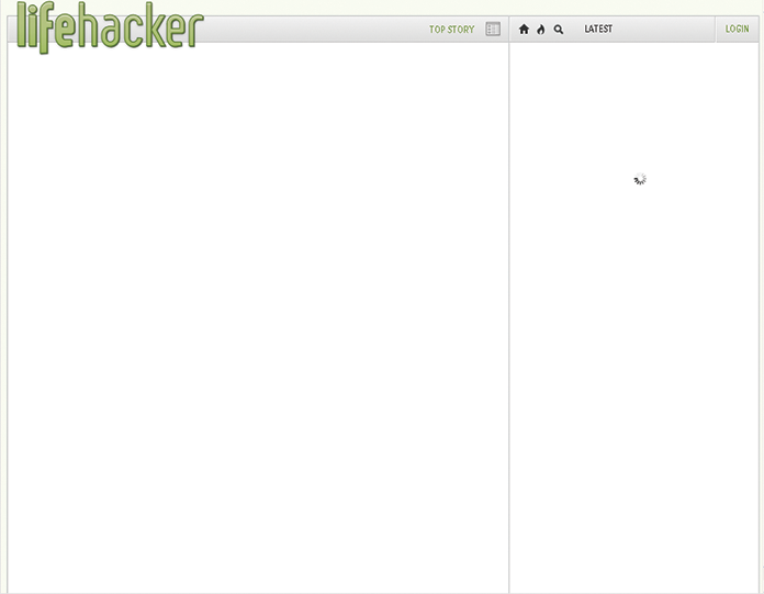 Screenshot of a completely blank website with only the Lifehacker logo displayed.
