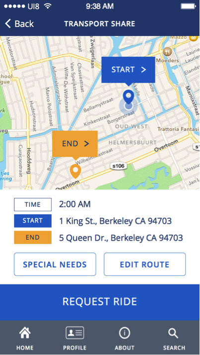 "Screenshot of the ride request summary, showing a map with markers for ""Start"" and ""End,"" but no path between them."