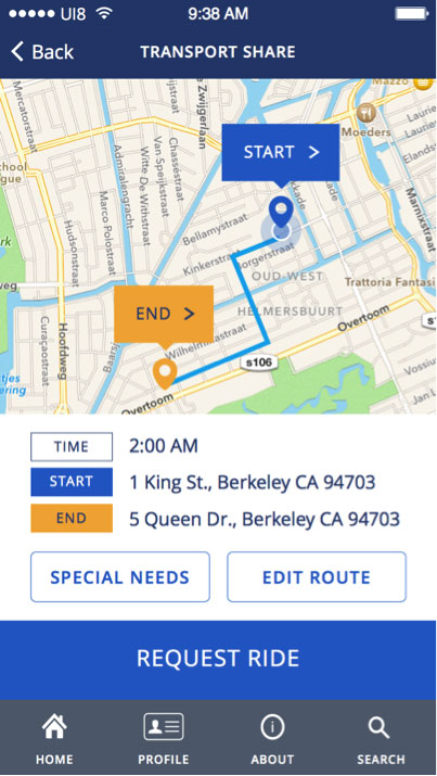 "The same screenshot of the ride request summary, showing a map with markers for ""Start"" and ""End,"" this time with a path connecting them."