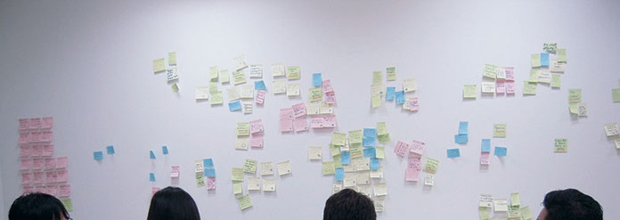 Affinity diagramming wall during a daily brief.