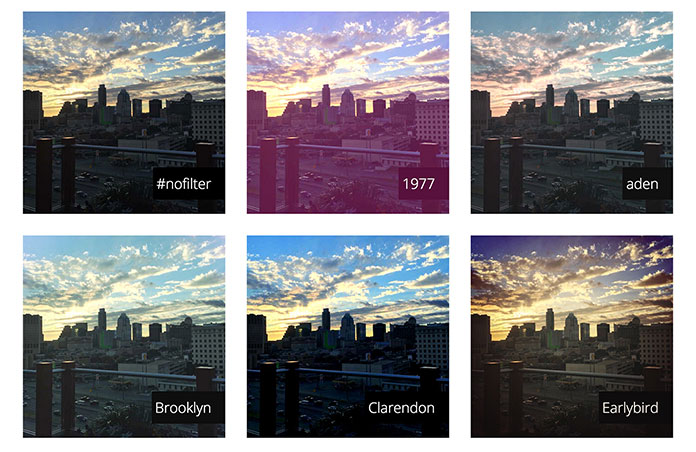 Image grid from Una Kravets' CSSGram showing a variety of filters and blend modes that recreate Instagram filters