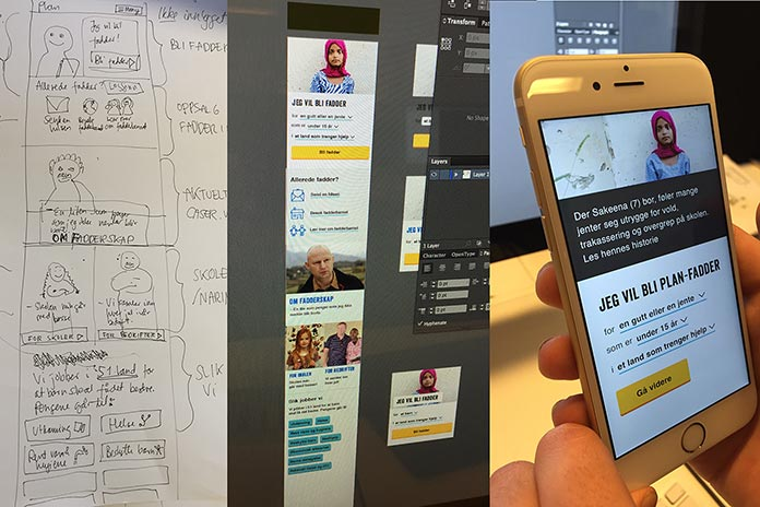 Panels of photos depicting the transition from hand-drawn sketch to digital mockup
