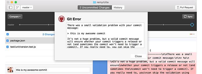 Git commit validation
