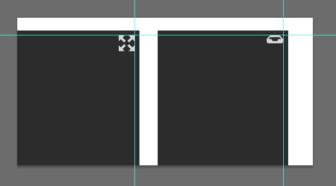 Icons aligned to corners of graphics