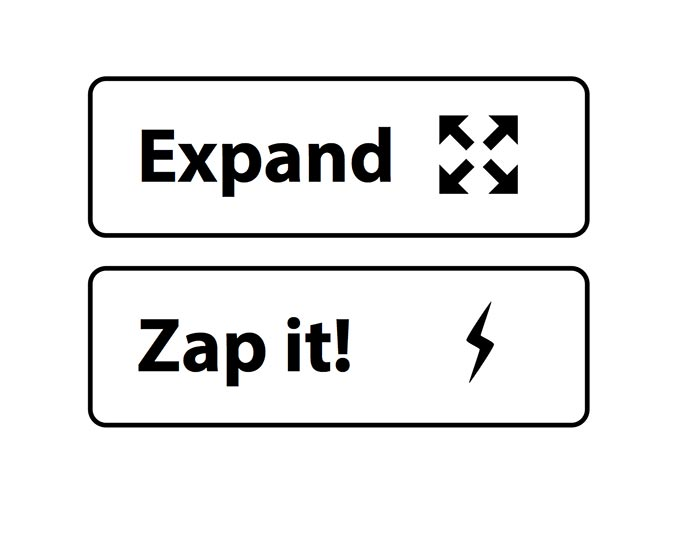 Two button samples; one example has a nicely-balanced scale of icon to text, the other has an icon that is too small for the space and size of text