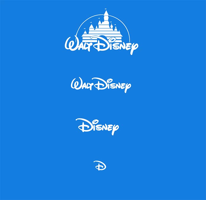Modified versions of the Disney logo, progressing to greater and greater simplification