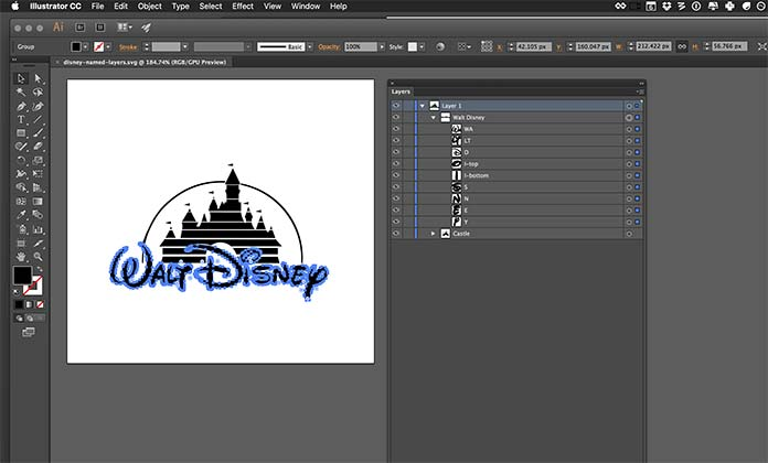 Adobe Illustrator interface showing vector paths and layers for Walt Disney logo
