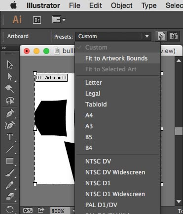 Cropped view of Adobe Illustrator menu option for resizing an artboard to the edges of a graphic