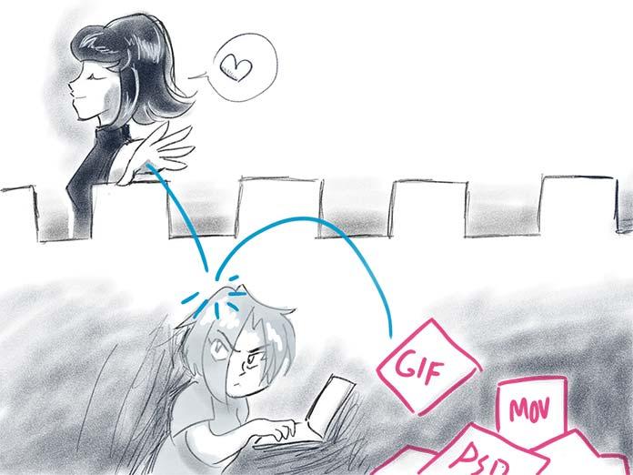 illustration showing a designer blithely handing off deliverables to a beleaguered developer