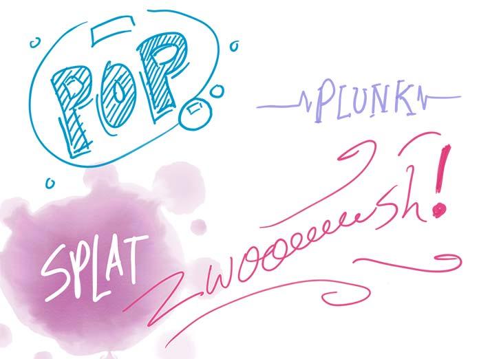 lettering illustration showing friendly onomatopoeias: swoosh, zoom, plonk, boom