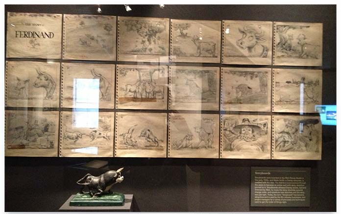photograph of storyboards at Disney Studios
