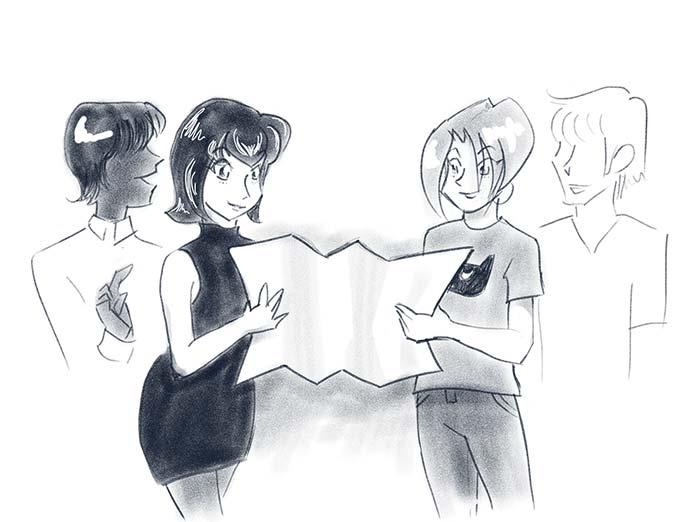 illustration of a happy team