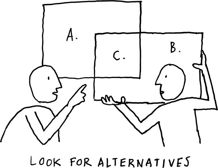 Illustration of two people holding rectangles and identifying where they overlap