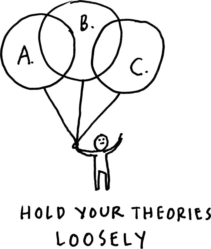 An illustration of a person holding the strings of three large balloons