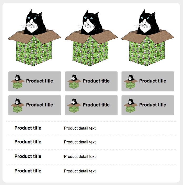 A grid of three cat graphics in a top row, then two rows of  blocks each comprising a cat graphic and a product title, then four rows each listing text for product title and  product details.