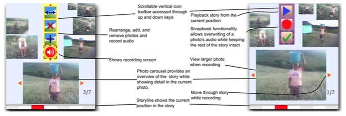 Image of two planning documents presenting an arrangement of photos and digital media viewing device controls, with lines pointing to various photos and device control icons on one end, and to paragraphs of text on the other