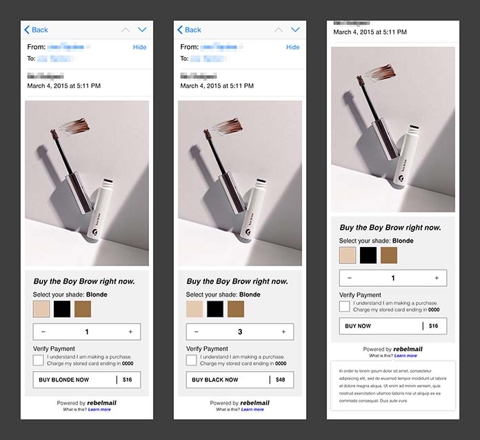 Image showing the different stages of Rebelmail's interactive checkout email.