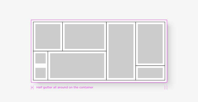 Peg areas shown as gray rectangles within a white rectangle representing the complete assembly, edges between bricks shown as black lines, and an extra pink line around the outermost edge showing added padding.