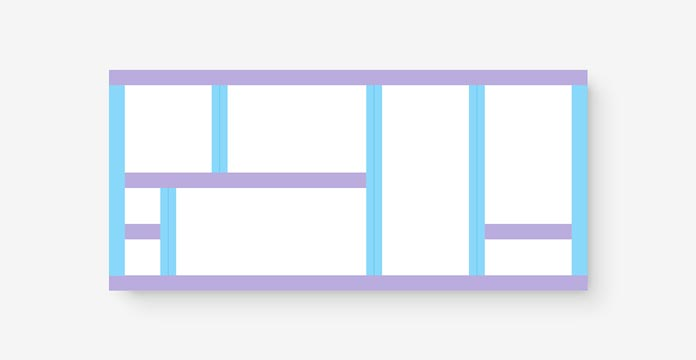 Diagram representing the previous Lego brick rectangle arrangement in rows and columns.