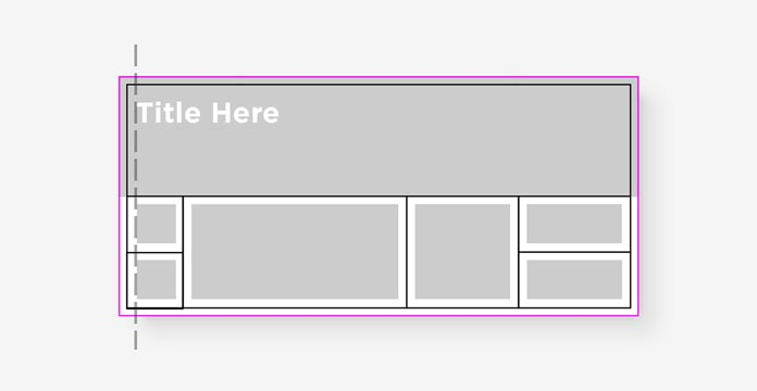 A gray horizontal rectangle with the words Title Here atop a white rectangle holding smaller gray rectangles and a dashed line to show how the words align on the left with the left-most of the small rectangles.