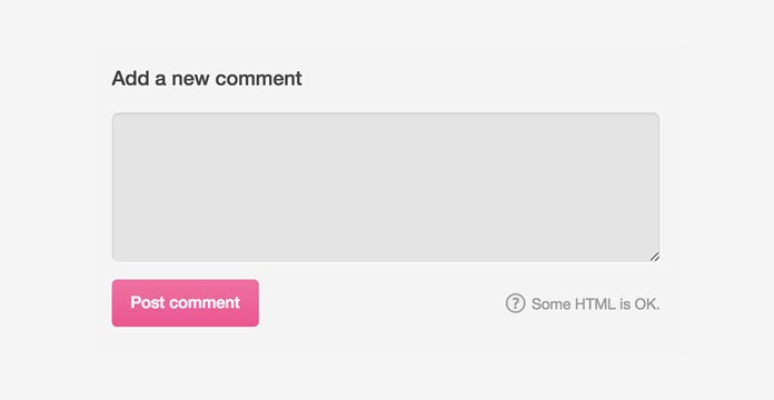 Generic comment box with title, text area, helper text, and button.