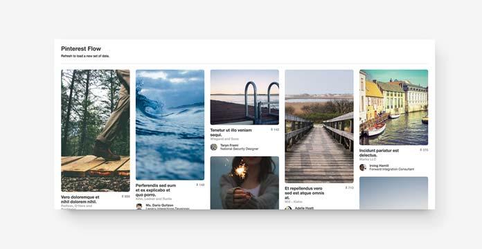 Pinterest flow layout of 5 columns.