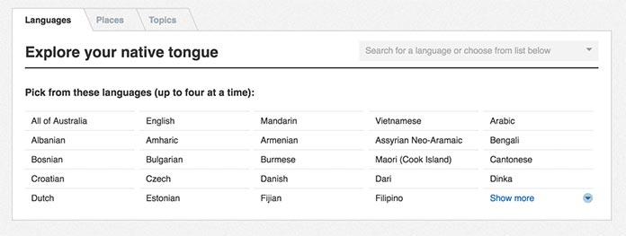 Screenshot of the native languages list in the Australian Census Explorer
