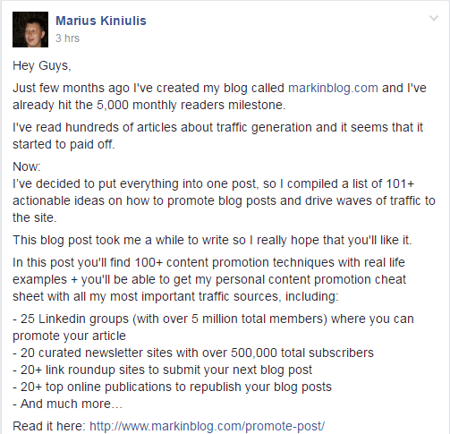 An example of a member sharing their own content on a private entrepreneur group.