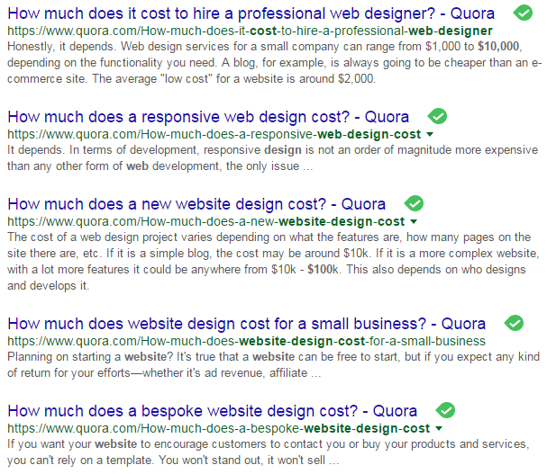 Google search results showing web design topics