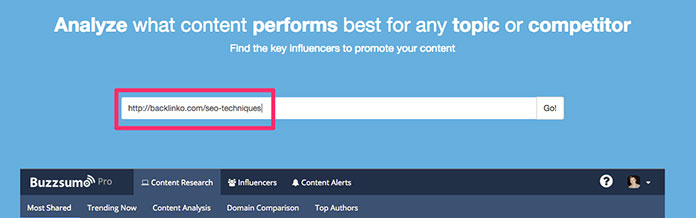 Research a URL on Buzzsumo to help generate article ideas.