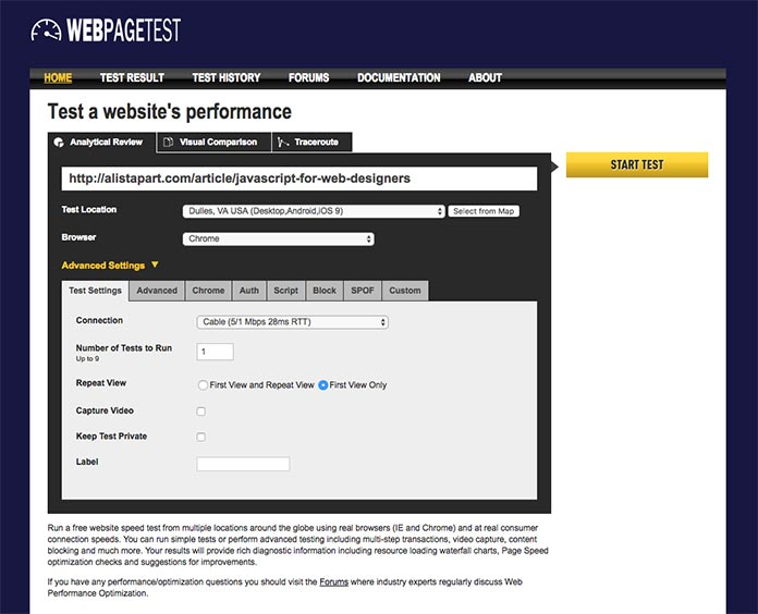 WebPagetest screenshot