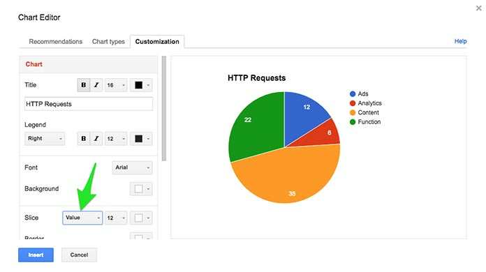 Screenshot showing Google Sheets' Chart Editor