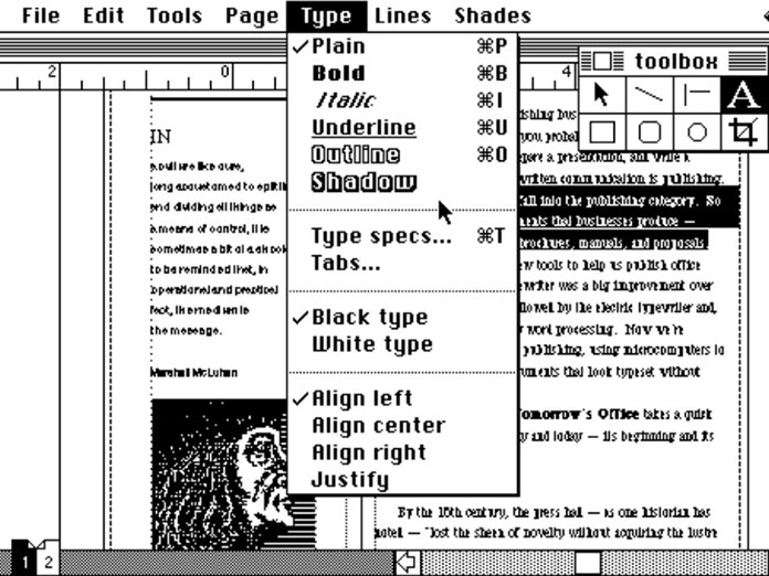 Aldus Pagemaker (released in July 1985) with a font selection menu options for Bold and Italic fonts