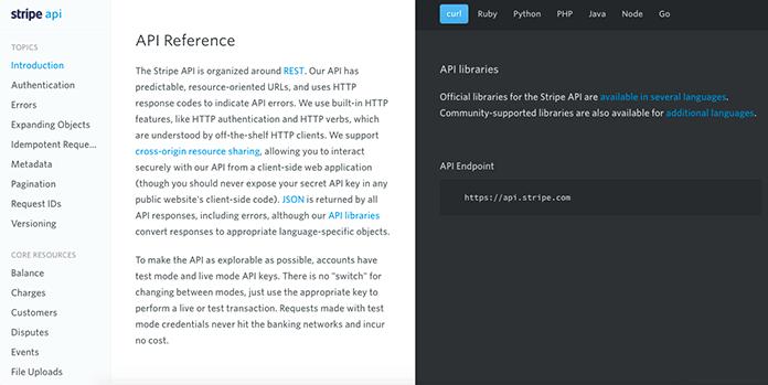 Screenshot of Stripe's API reference page