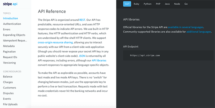 Screenshot of Stripe's API reference page