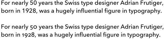 Graphic showing two styles of numerals in Avenir