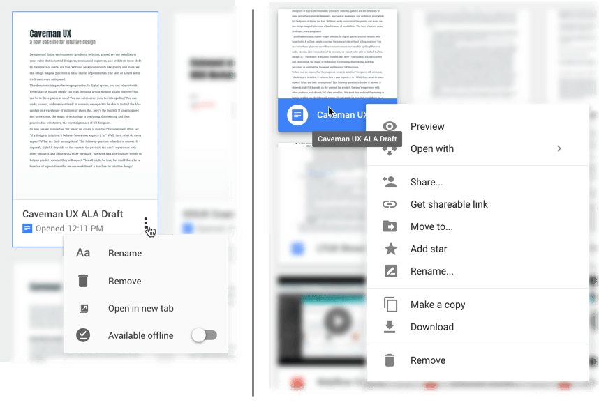 Screenshot showing the same document with different menus in Google Docs (shorter) and Google Drive (longer)