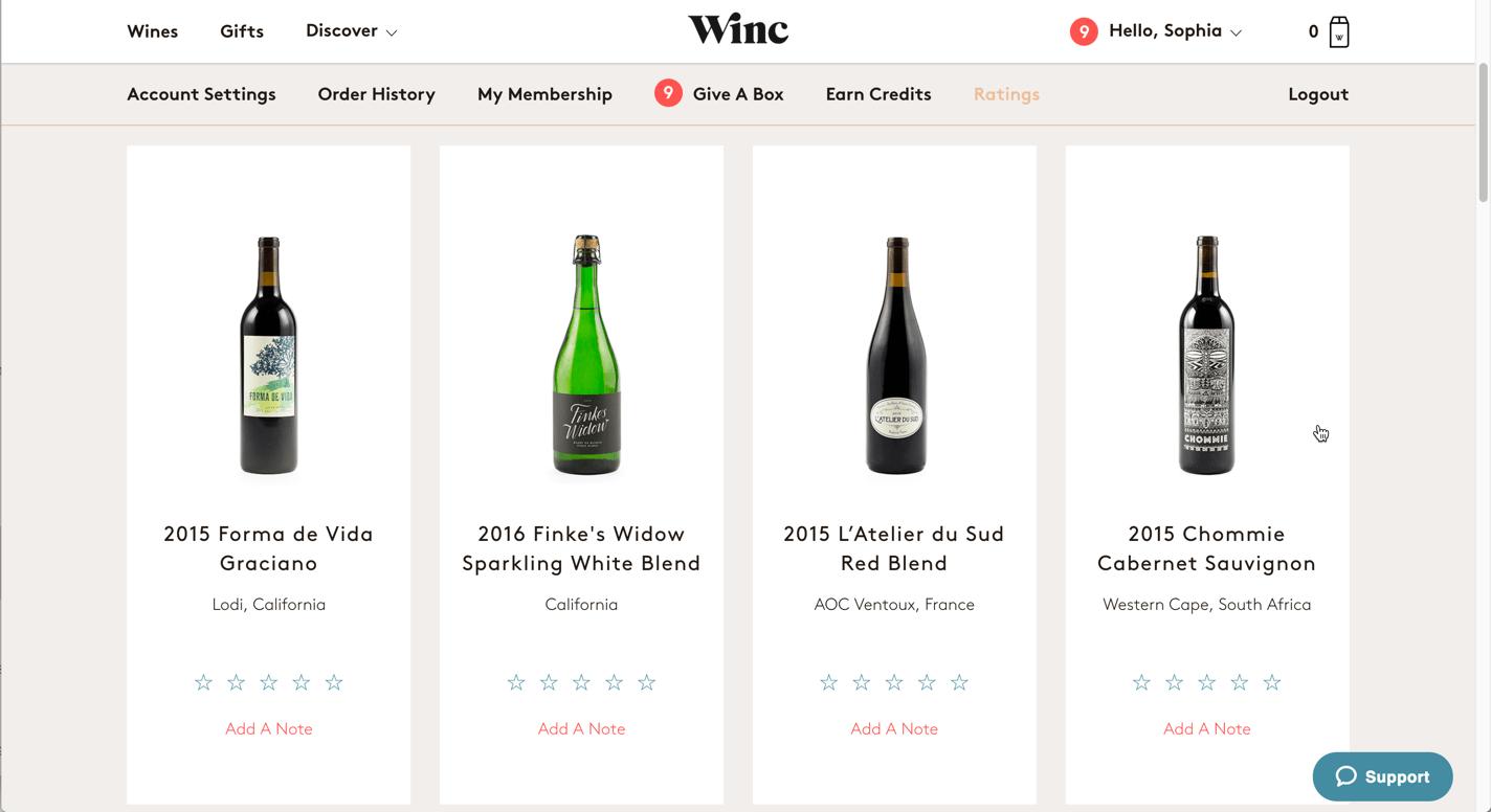 Screenshot of the ratings tab of Winc.com