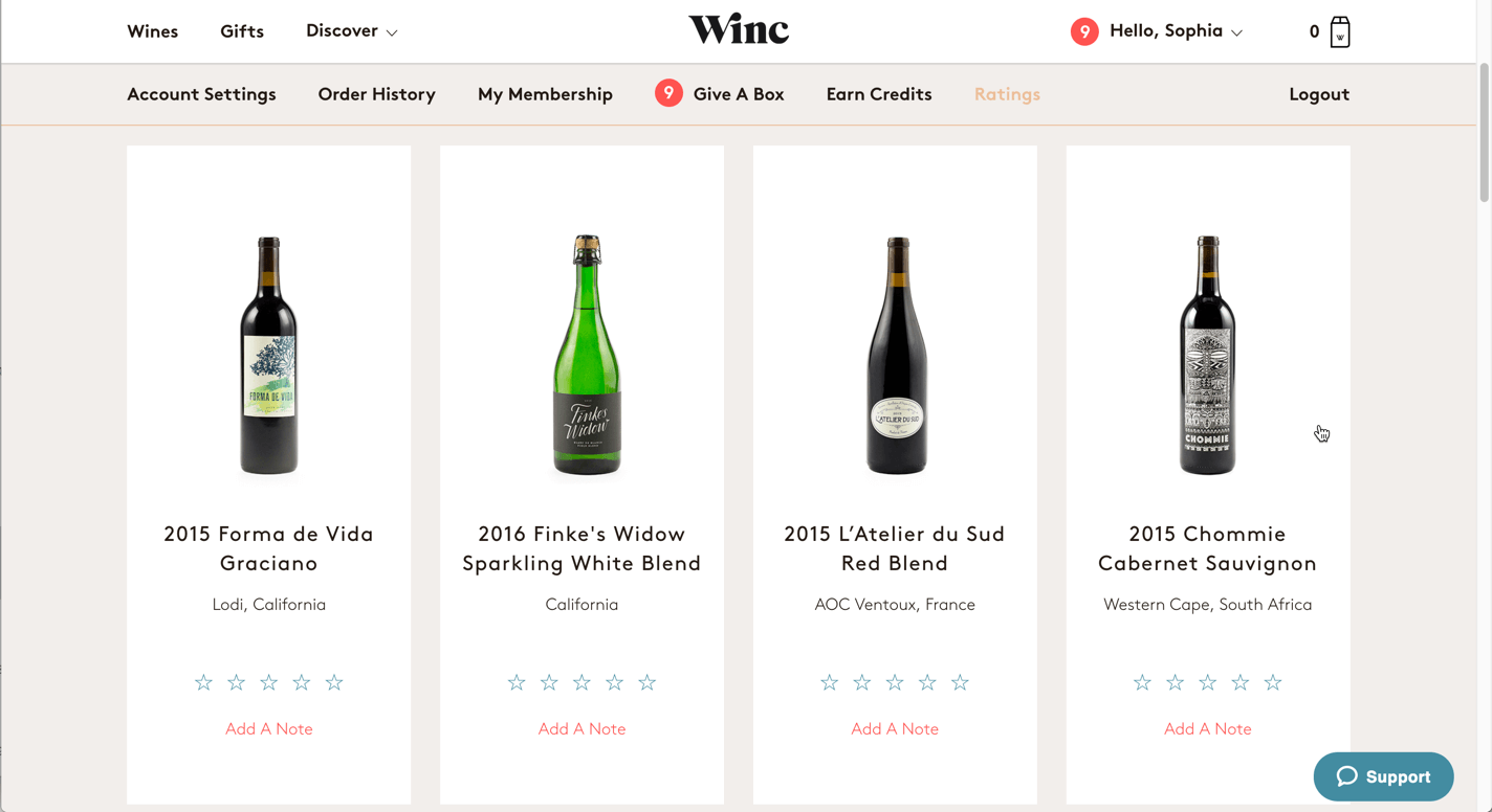 Screenshot of the ratings tab of Winc.com