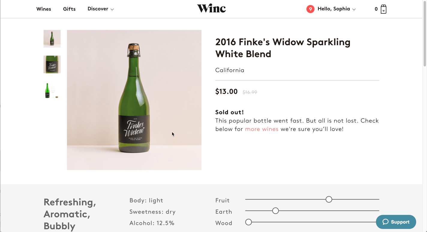 Screenshot of Winc.com's product detail page