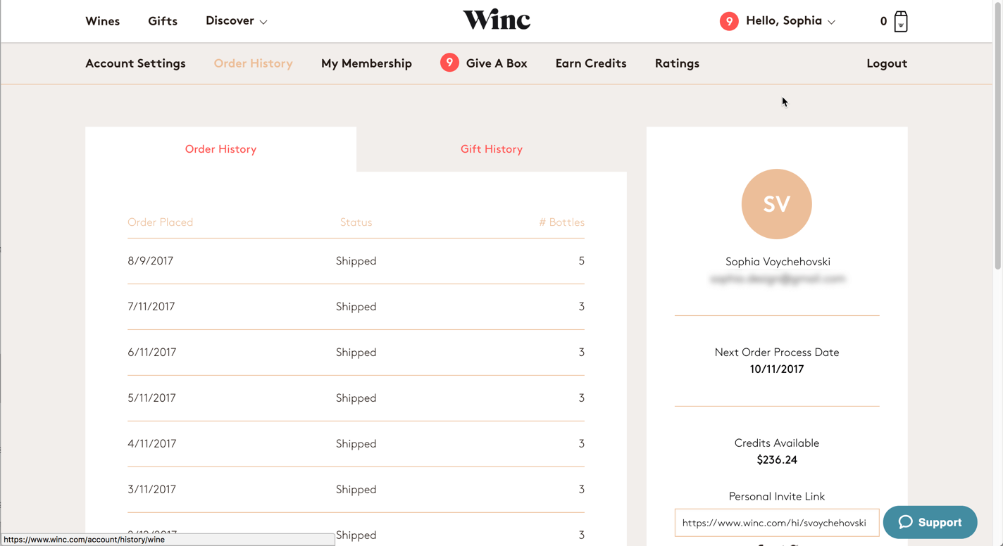 Screenshot of Winc.com's order history page