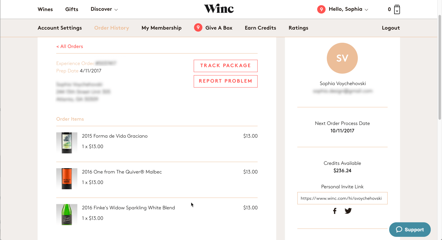 Screenshot of Winc.com's order history detail page