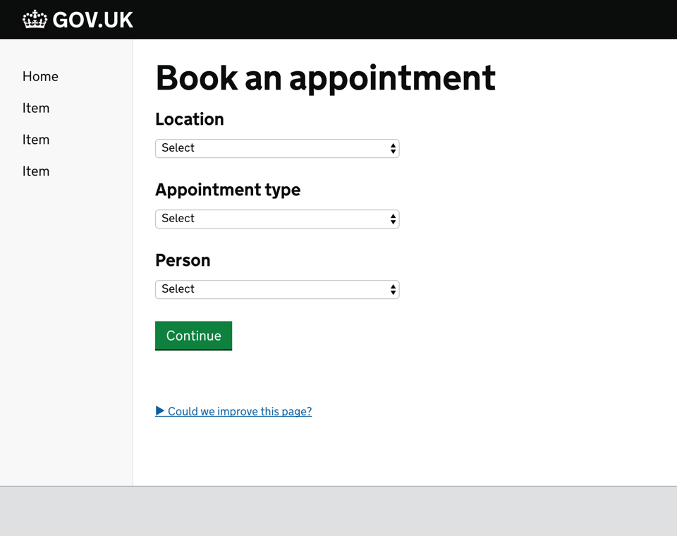 Screenshot of an app to book an appointment