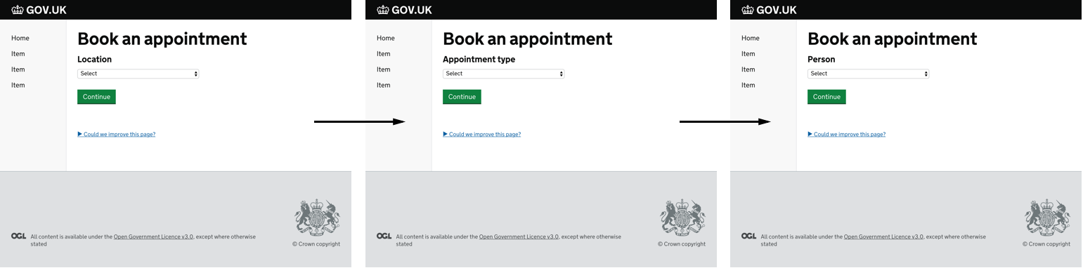 Screenshot showing an app to book appointments split across three screens