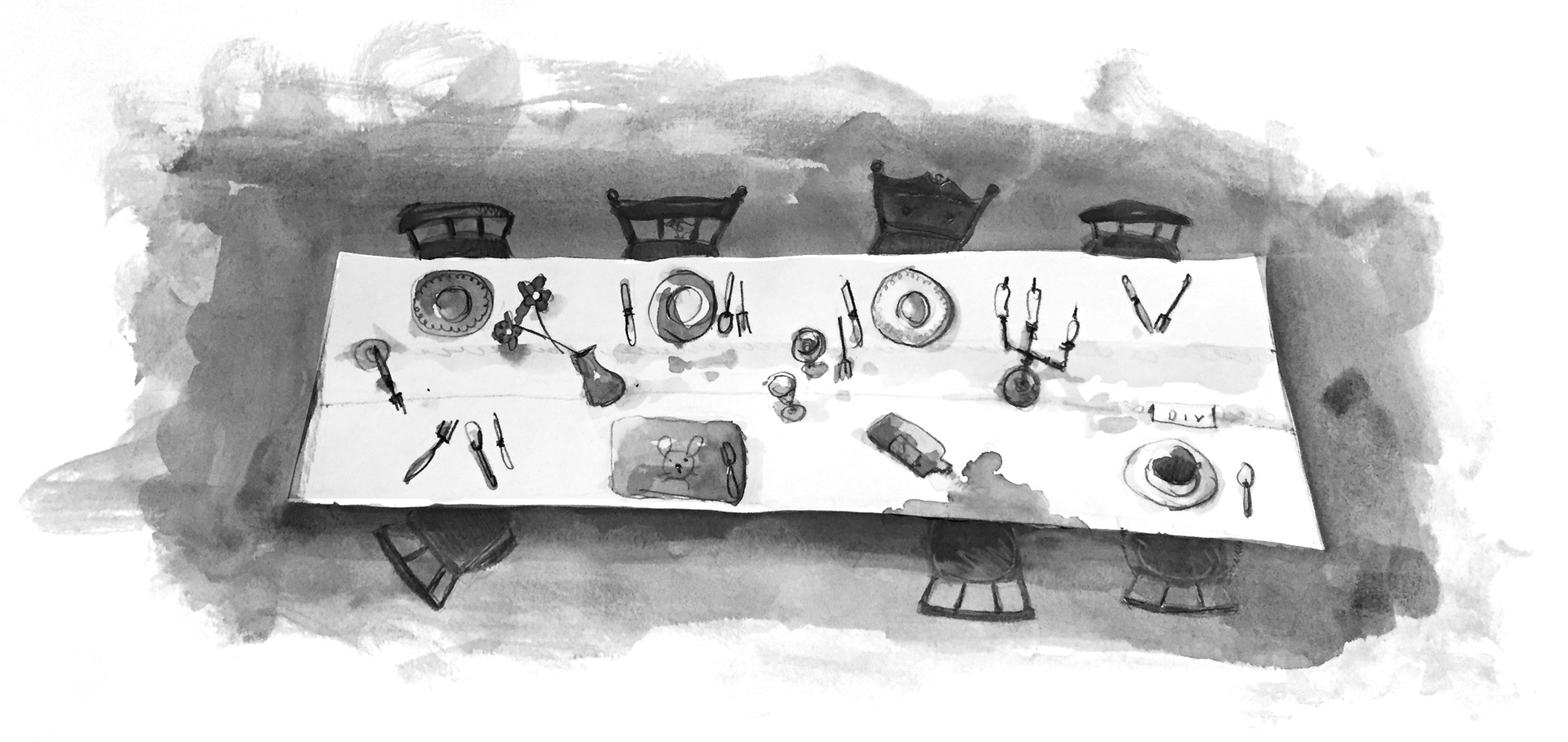 Illustration: A bird's eye view of a table with different dishes, chairs, and place settings in each spot.