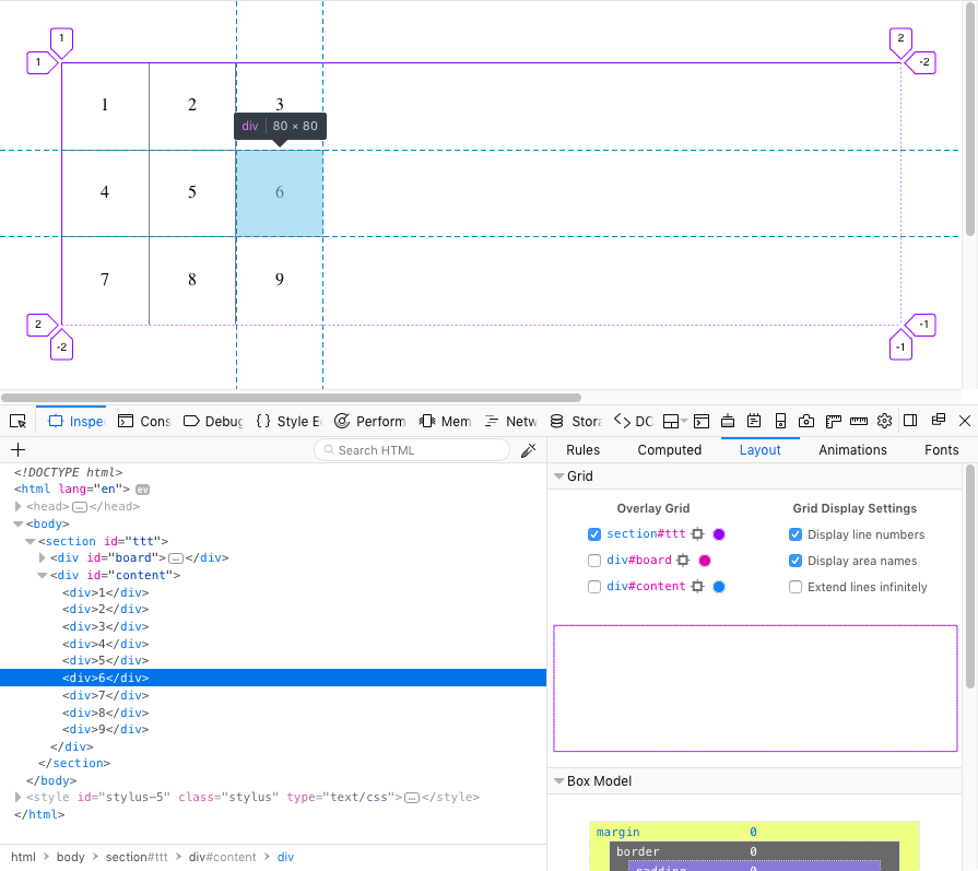 Screenshot: In the Firefox Grid Inspector, the containing grid spans the full width of the page with a purple border. Occupying about a third of the space on the left side of the container are the two child grids, one with the numbers 1 through 9 in a 3 by 3 grid and the other with tic-tac-toe lines overlaid on top of each other.